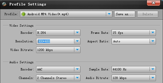 Iconia Tab A200 video converter settings
