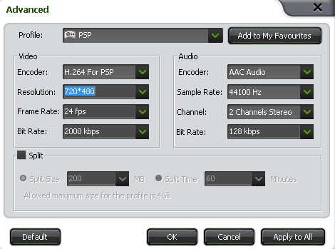 YouTube to PS Vita Converter Settings