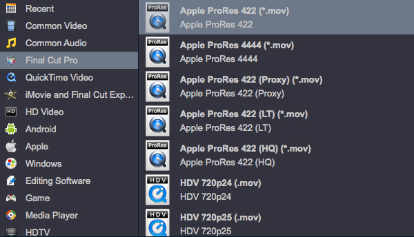 Aovsoft HD Video Converter-ProRes profiles